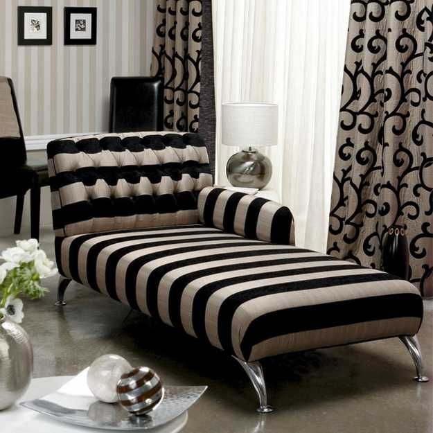 Marvelous Black And White Striped Upholstery Fabric And Window Curtains. Modern Chaise  Lounge ChairsChaise ...