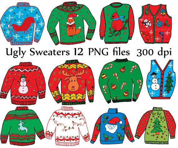 Ugly christmas sweater printable. Clipart holiday doodle