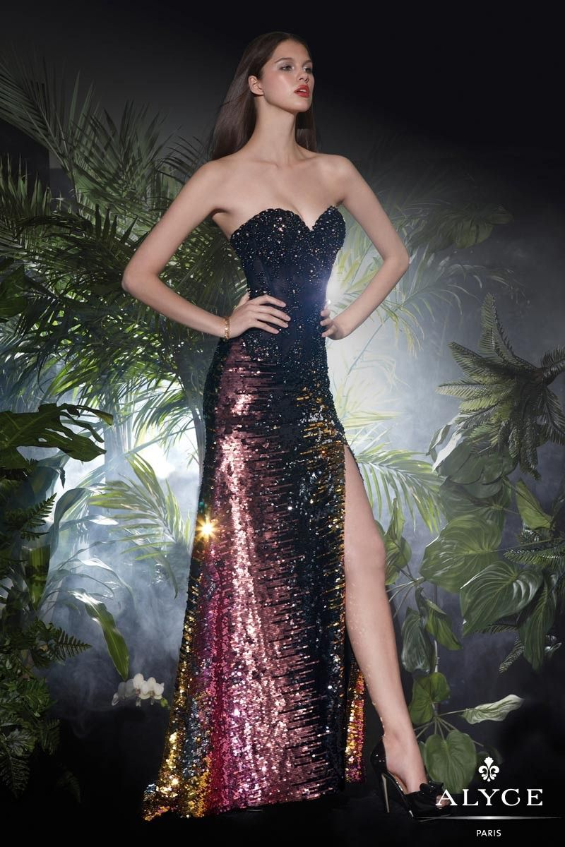 Sequin ombre long dress with lace illusion waist dress features a