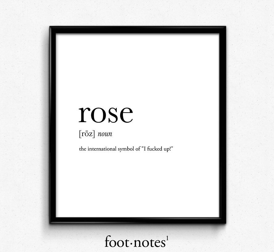 Rose Definition, Dictionary Art Print, Dictionary Art