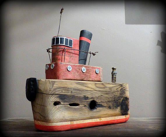 bateau en bois flott assemblage de m tal rouill art brut etsy shop bois flott art en. Black Bedroom Furniture Sets. Home Design Ideas