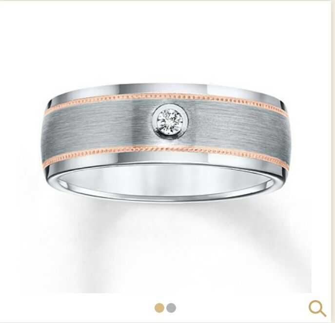 Menu0027s Tungsten Carbide And Rose Gold Wedding Band From Kay Jewelers