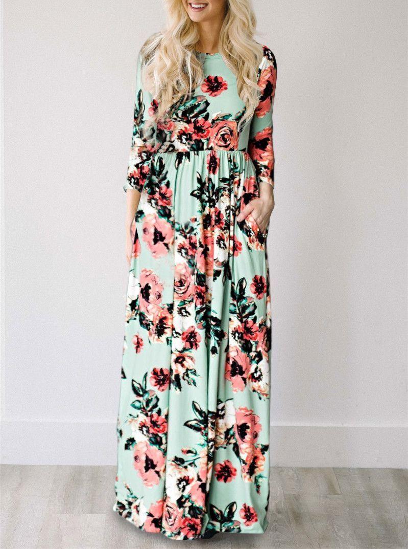 b5fec721f84e Casual Ecstatic Harmony Green Mint Classic Rose Print Maxi Dress ...
