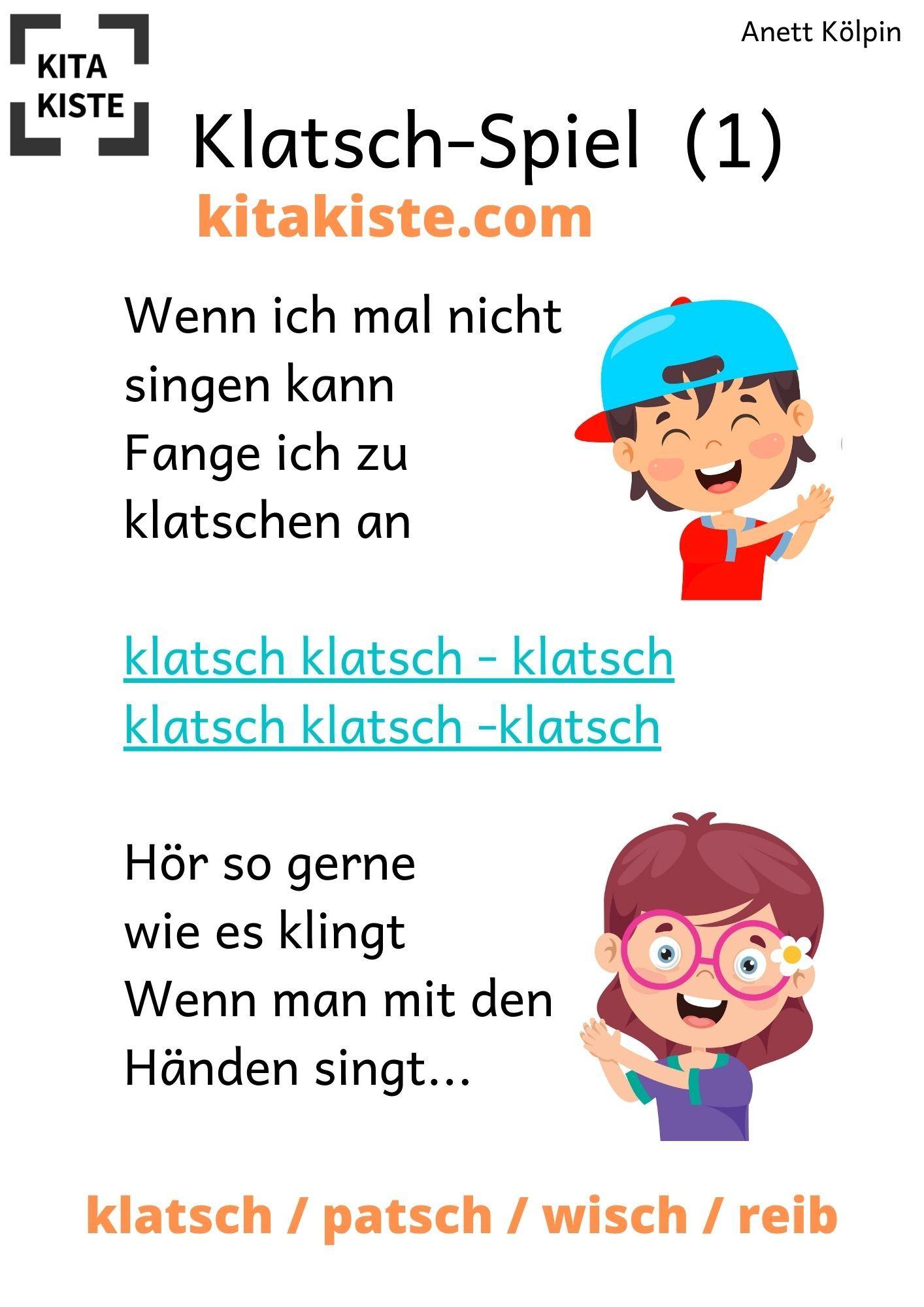 Klatsch Spiel Kita Kinderlieder Gedichte Fur Kinder Kinder Reime