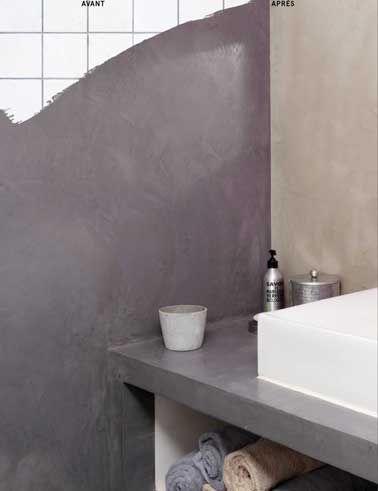 Relooker sa salle de bain avec du béton minéral c\'est top déco ...