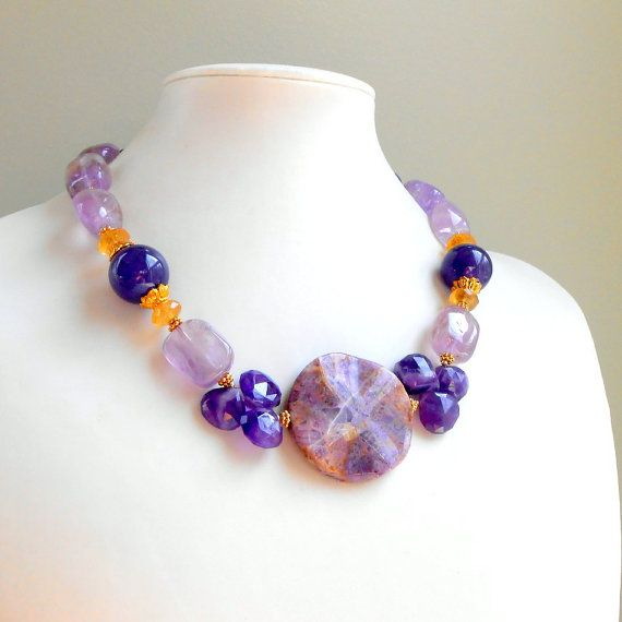 Chunky Purple Amethyst Beaded Necklace with Imperial Jasper and Golden Citrine in Gold Vermeil