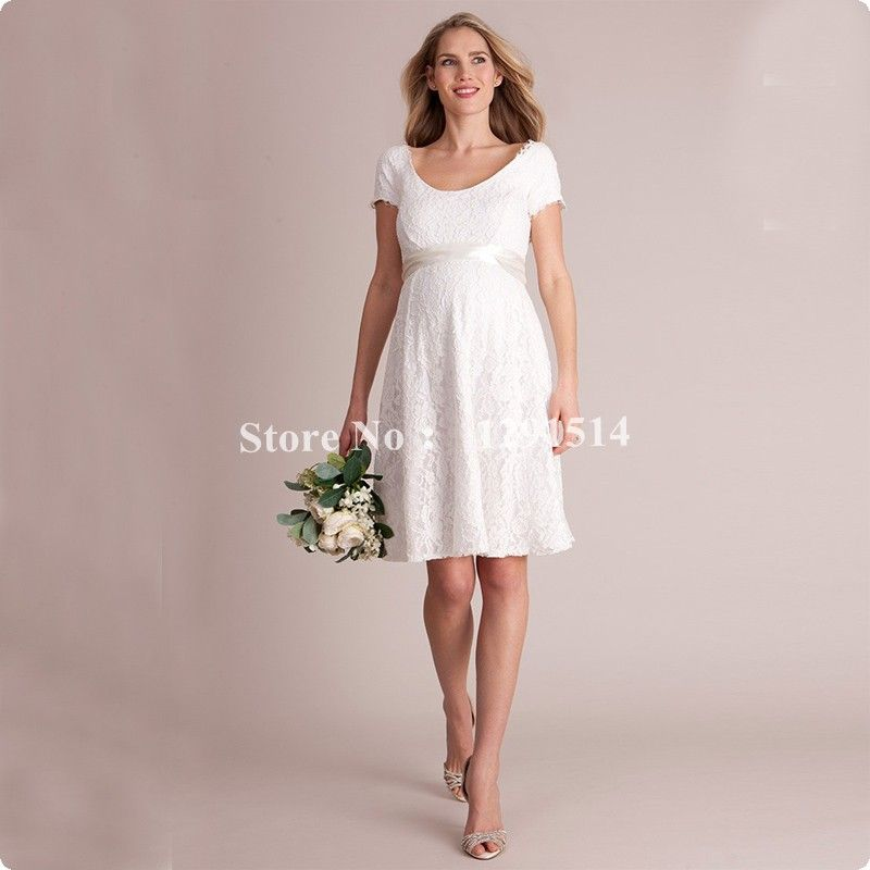 Click to Buy << Empire Lace Maternity Wedding Dresses 2017 Cheap Big ...