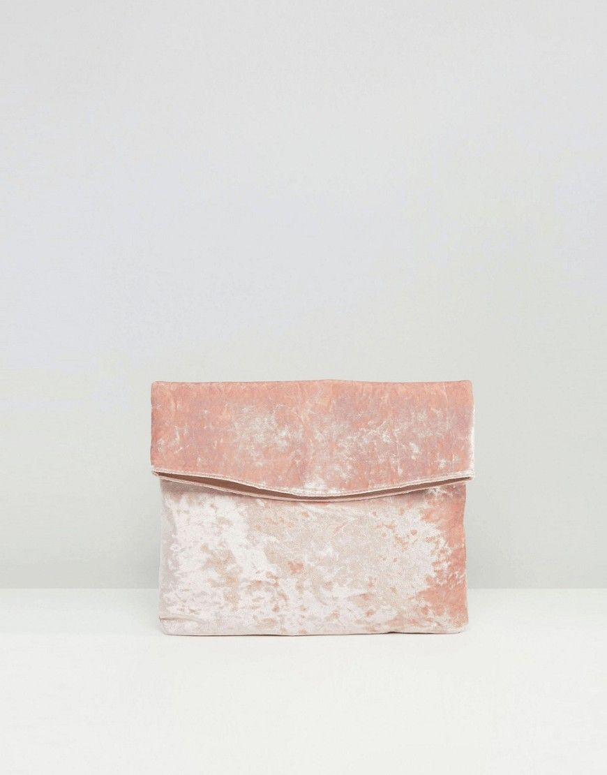 ASOS Curved Velvet Foldover Clutch Bag at asos.com