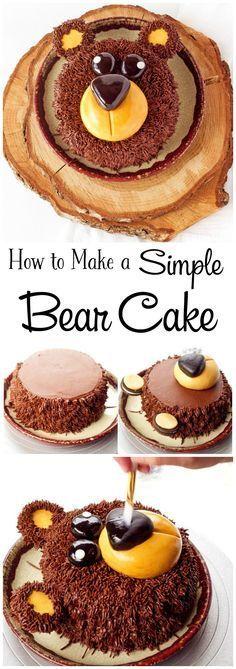 how to make a simple bear cake with video kuchenpinnwand pinterest kuchen backen und. Black Bedroom Furniture Sets. Home Design Ideas