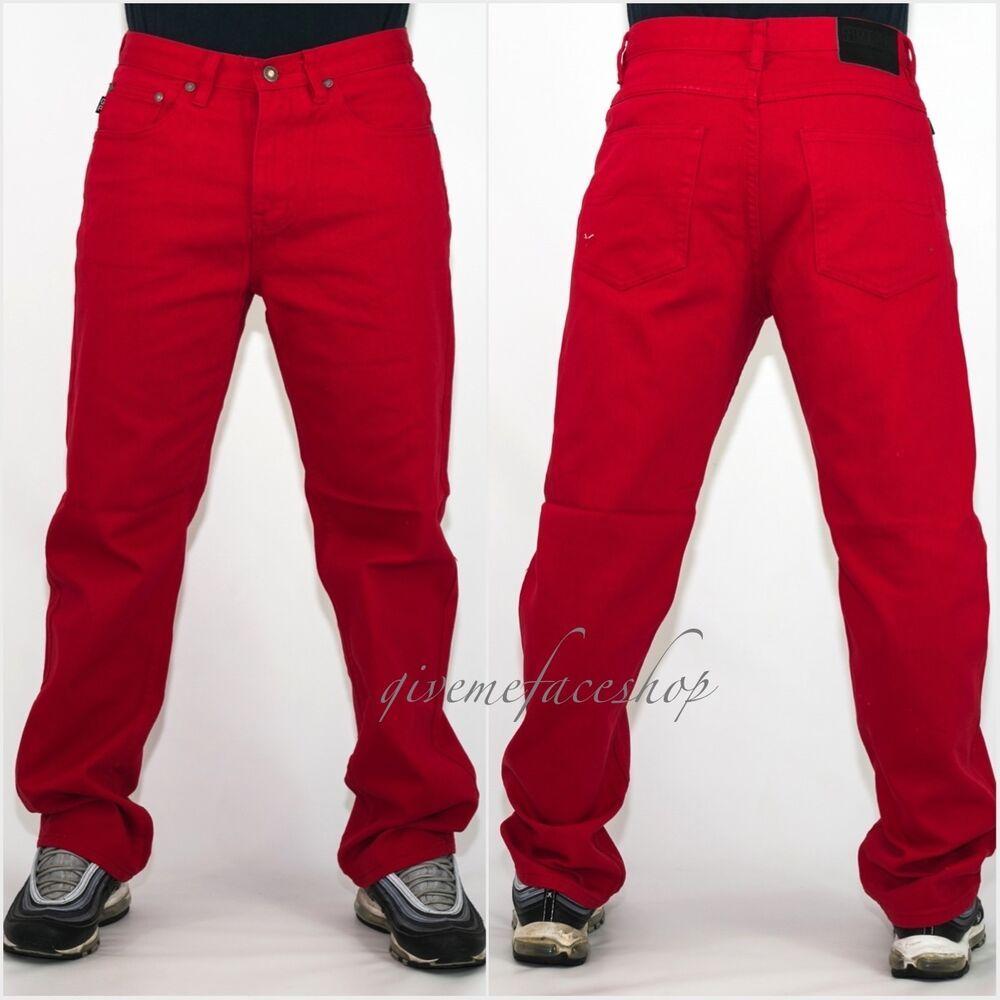 56997ffb Mens Georgio Peviani jeans, g denim pants, straight fit urban hip hop star  red