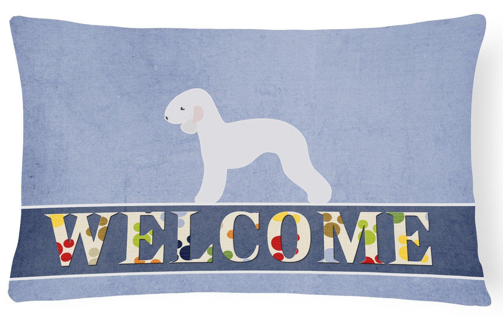 Bedlington Terrier Welcome Canvas Fabric Decorative Pillow BB5498PW1216