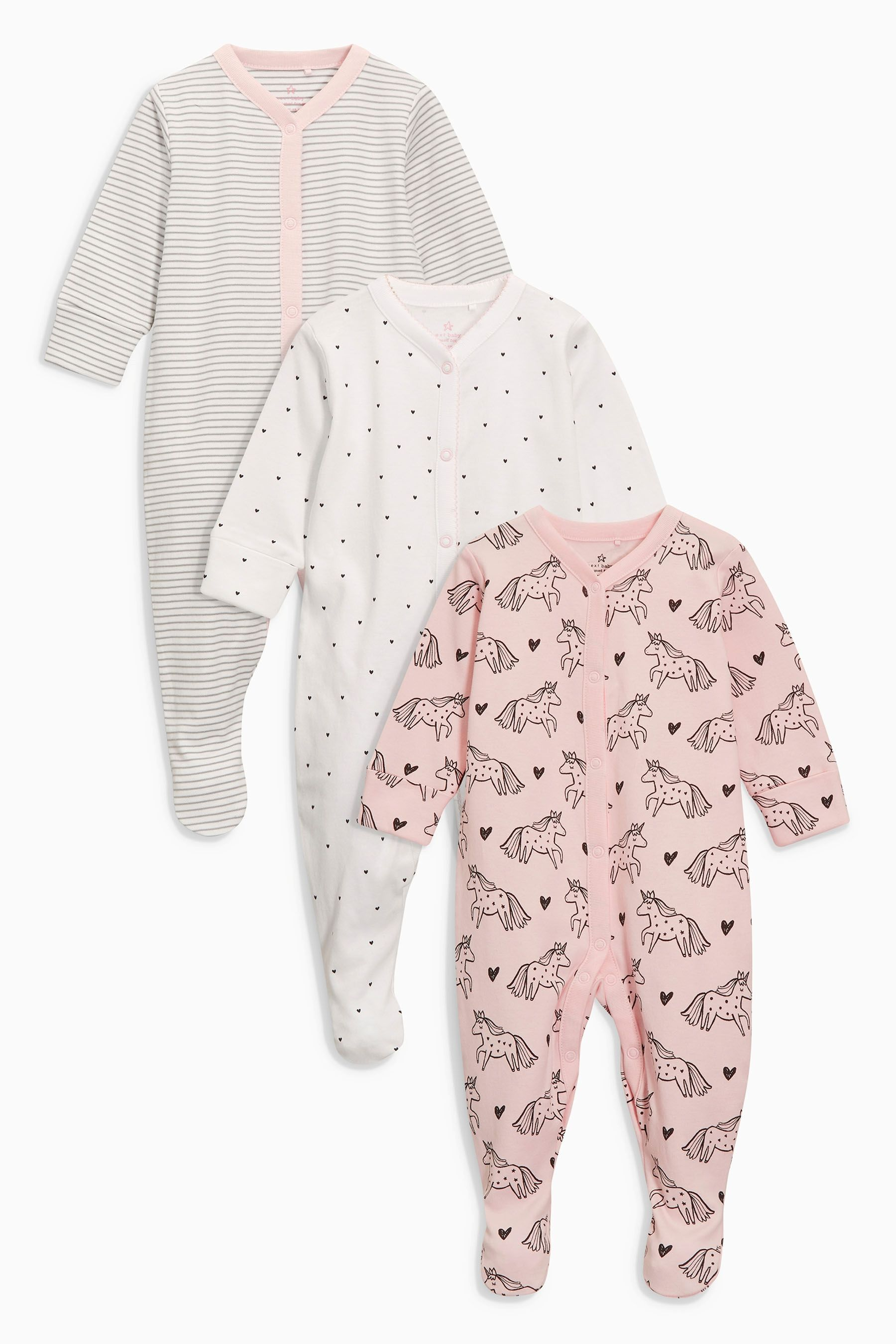 25ce70e1f48d Buy Pink White Unicorn Sleepsuits Three Pack (0mths-2yrs) from the ...