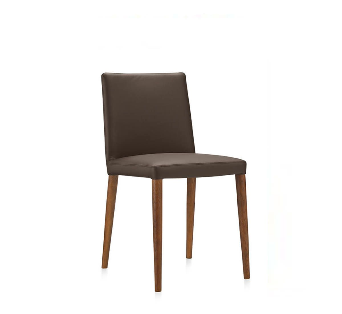 """BELLA W, design G. e R. Fauciglietti.  The sober lure of Bella, with its low back, comes from its elegant thin outline, perfectly summarising the archetype of leather chairs, in several versions, with or without armrests, lounge design, leather legs, varnished metal or wood. The back, in special flexible spring """"memory"""" steel, conveys dynamism to a perfect balance between beauty and comfort."""