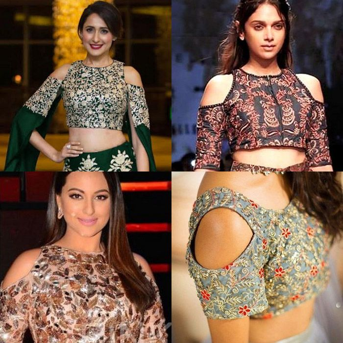 f1bde1b90e2a6 Hottest Trend  Cold Shoulder Saree Blouse Designs
