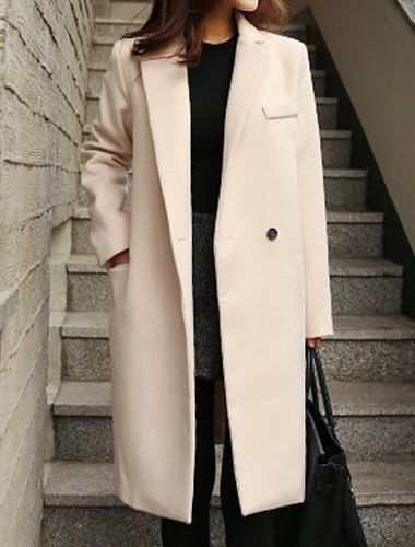 Lapel Collar Long Sleeves Solid Color Stylish Long Woolen Coat For Women