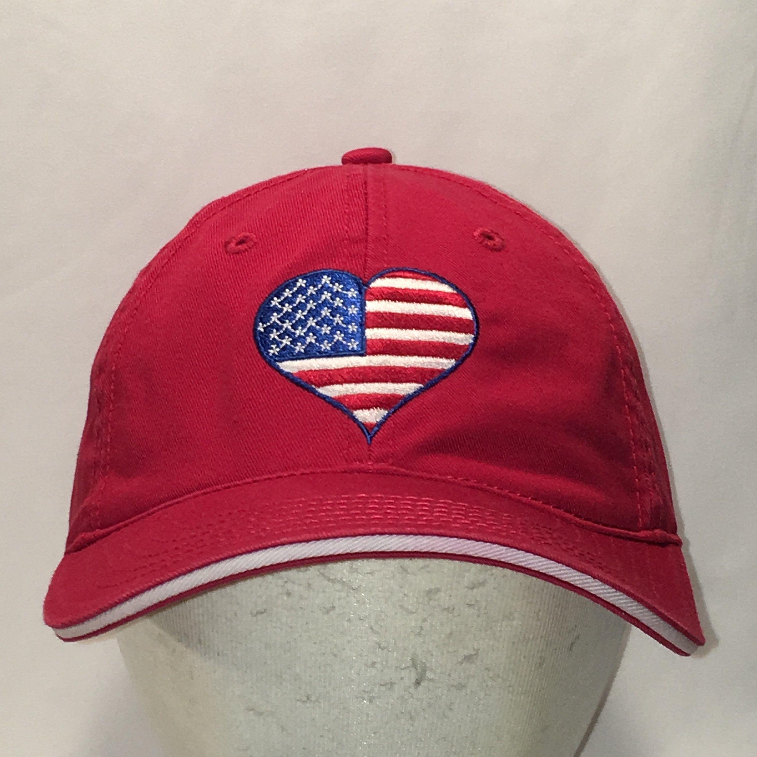 c53496f2c American Flag Hat Red White Blue Baseball Cap Womens Hats Love Heart ...