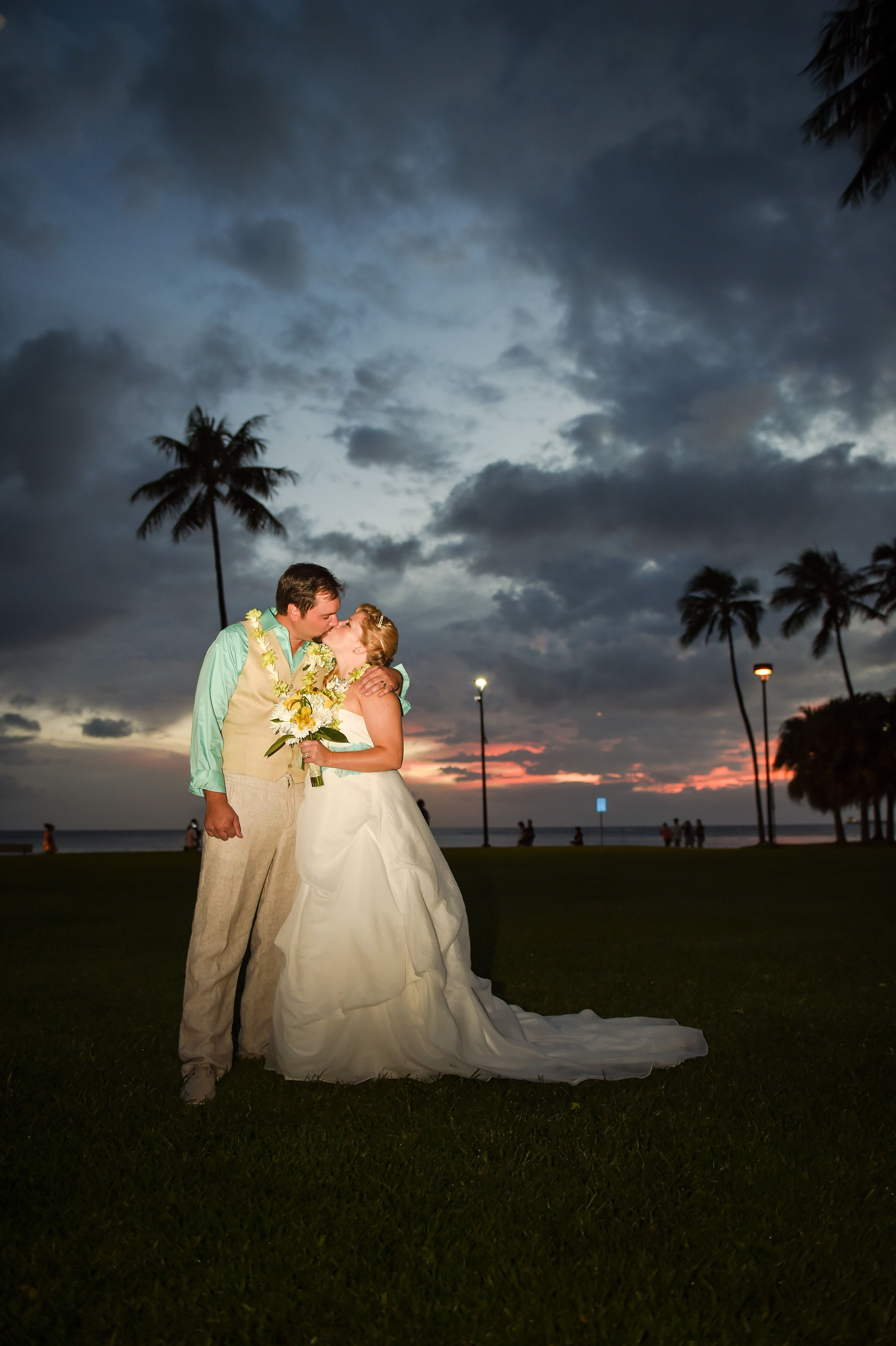 Sunset wedding in the park at Fort DeRussy Beach.