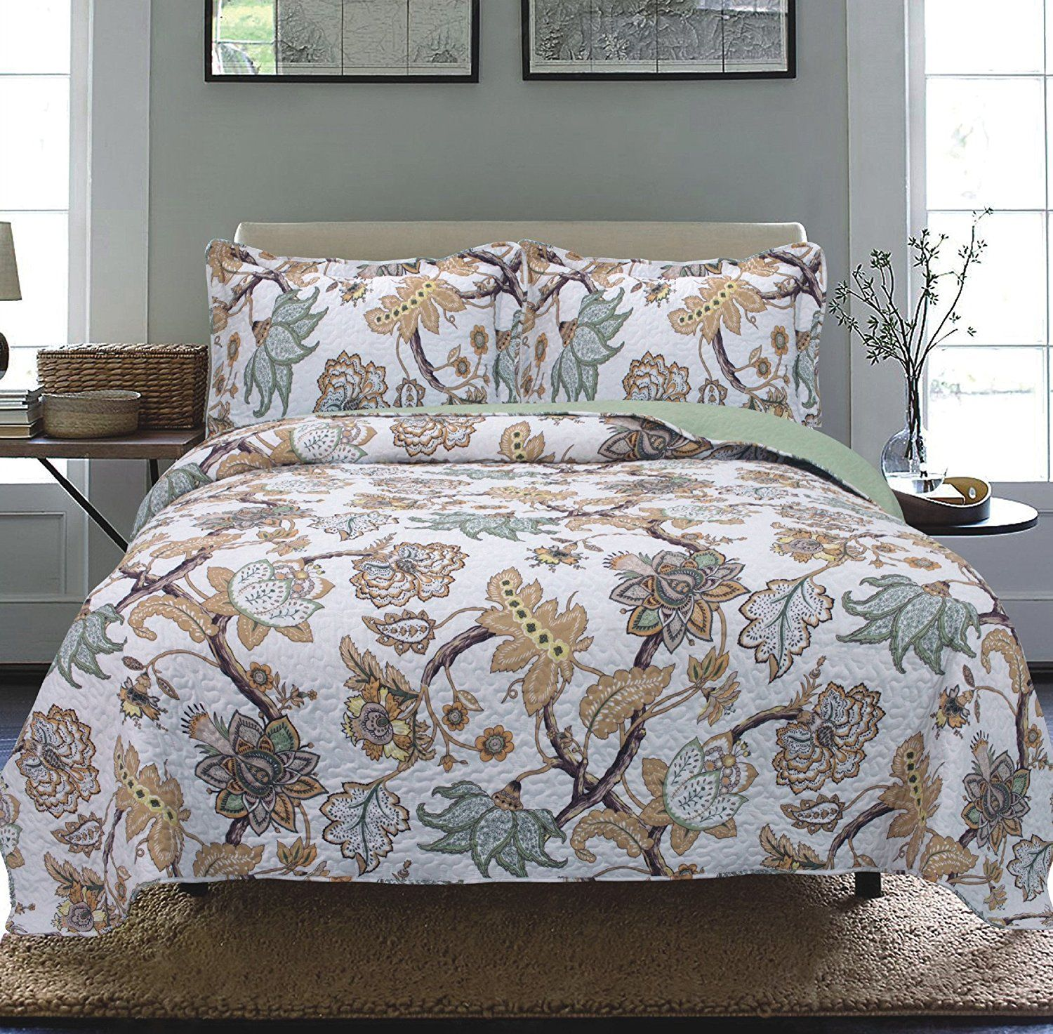 Tagesdecke Modern Modern Floral Bedspread Coverlet Cal King Ease Bedding With