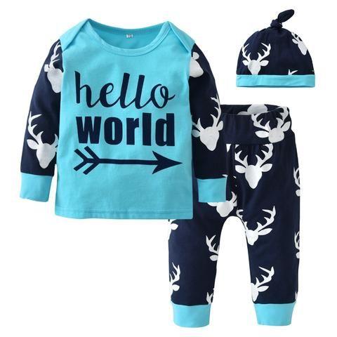 Newborn Baby Boy Christmas Clothing Set Long Sleeve Letters T-shirt+