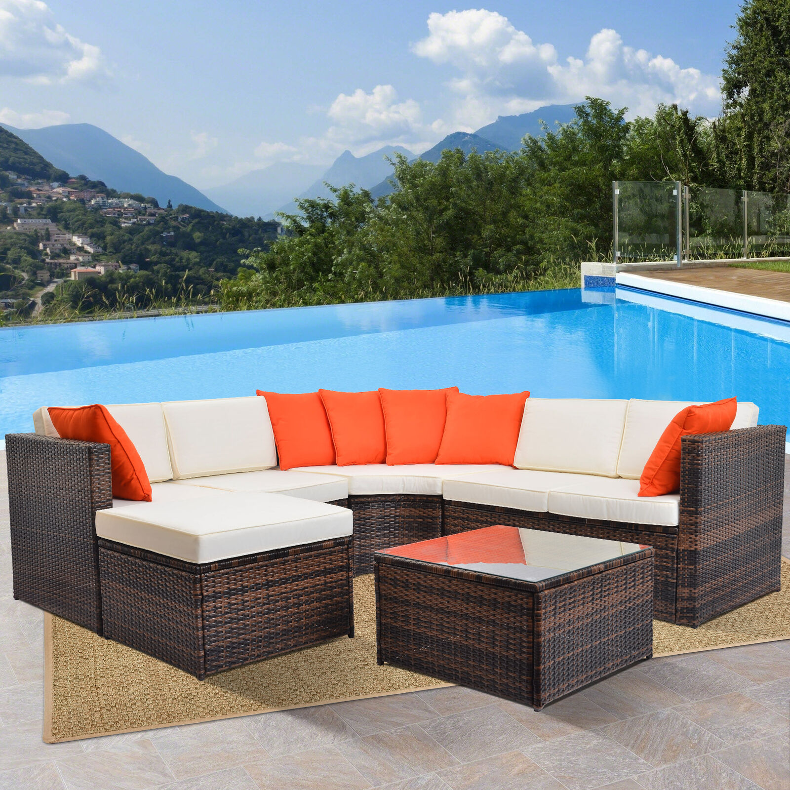 Patio Rattan Wicker Set Outdoor Furniture Sectional Sofa Dining