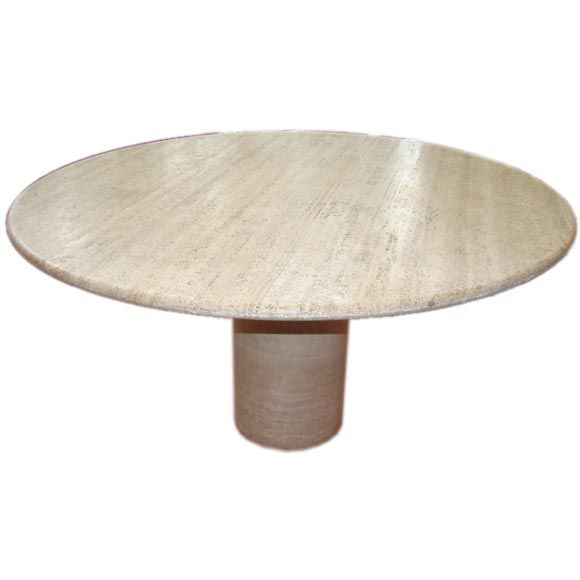 Round, travertine marble dining room table | Mod Dining Room ...