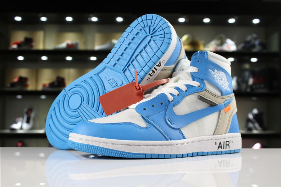 13babff99156 Latest OFF-WHITE x Air Jordan 1 UNC White Dark Powder Blue-Cone AQ0818-148