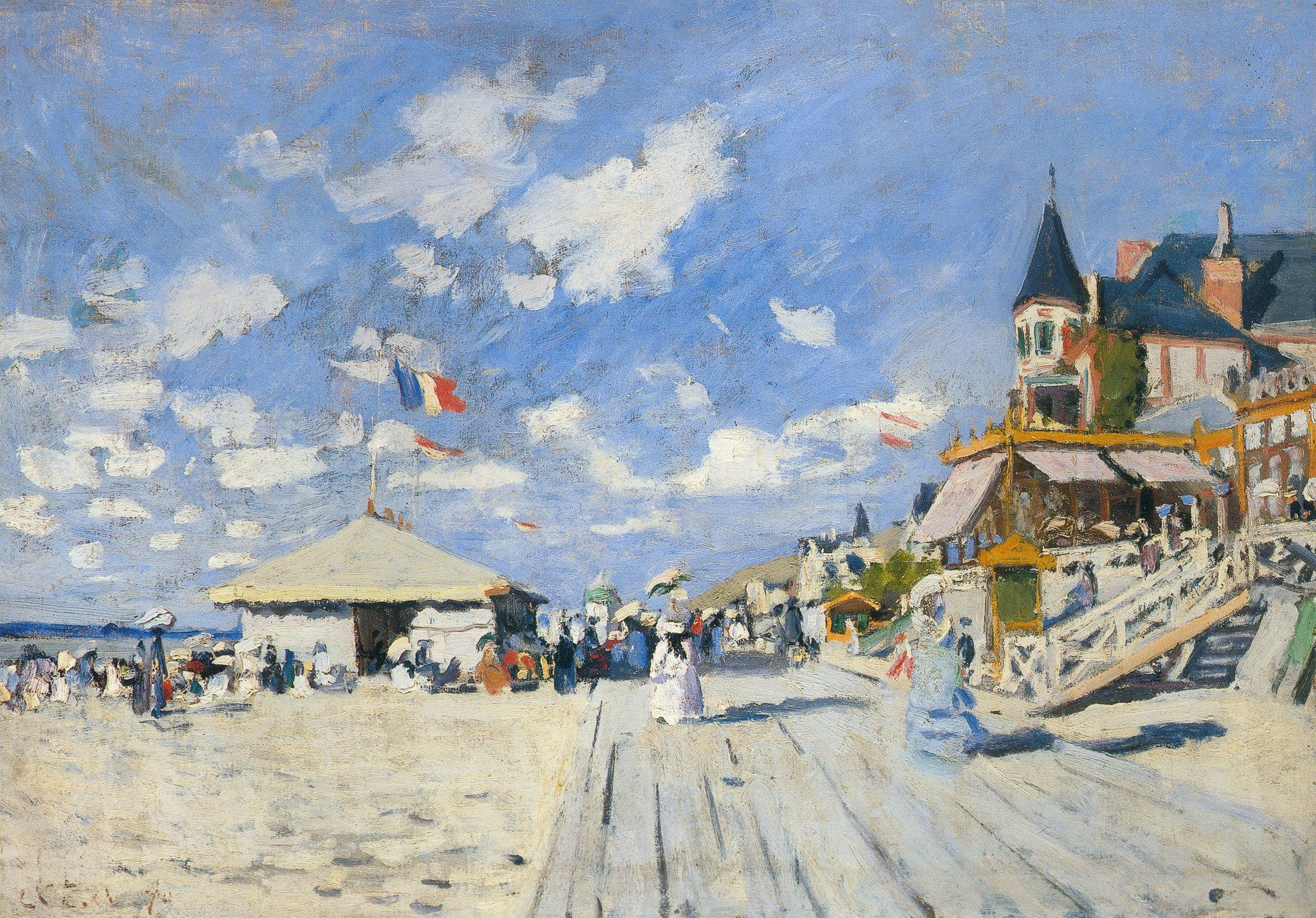 Claude Monet - The Boardwalk on the Beach at Trouville [1870] | [Private Collection - Oil on canvas, 50 x 70 cm]