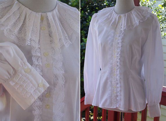 f668ad88 VICTORIAN Revival 1960's 70's Vintage White Lacy Ruffled Blouse w/ Eyelet  Lace Edges // size Medium // by COTTON Corps.
