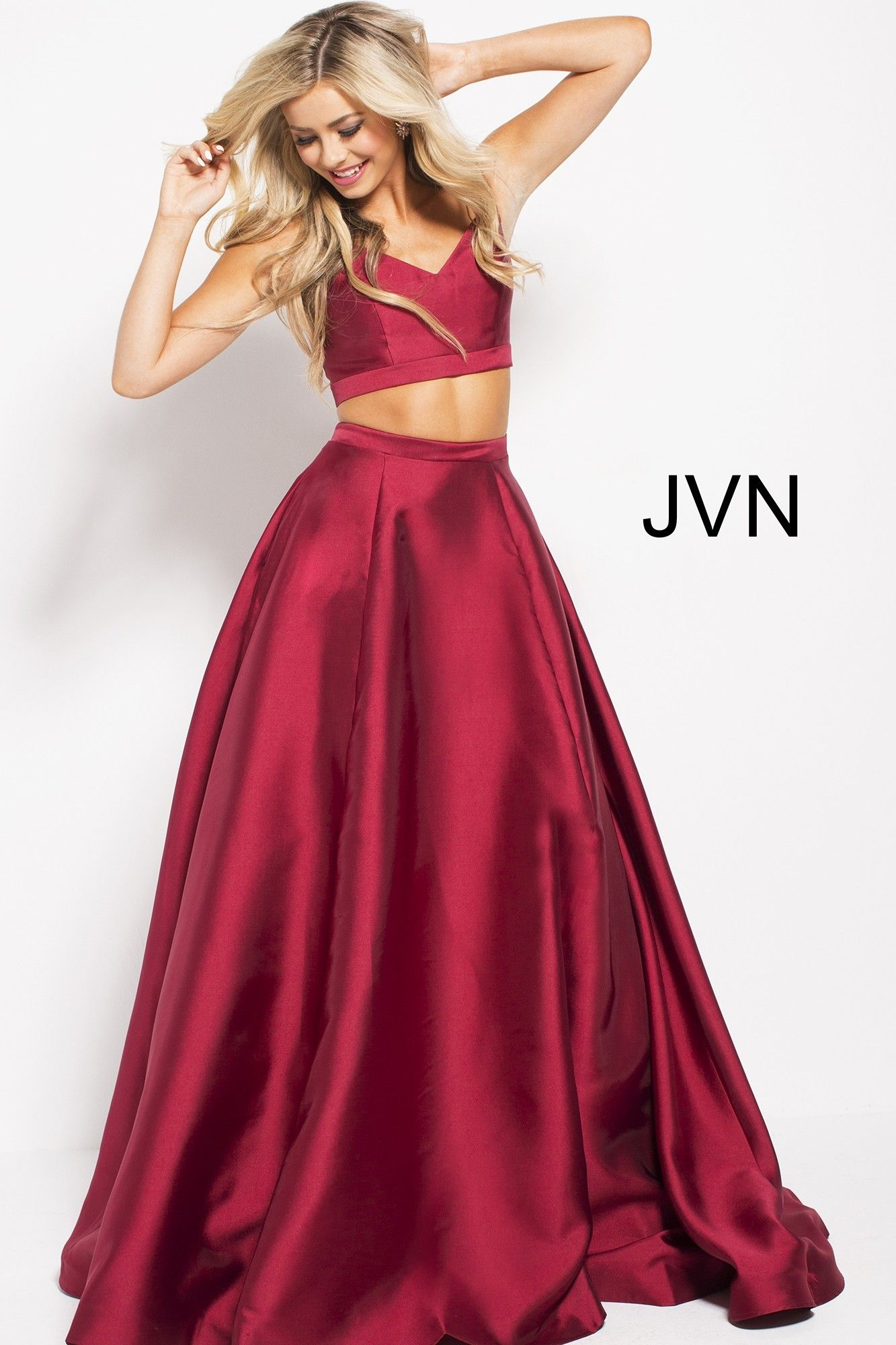 1e429a4450d Dress to impress in JVN59636. This two piece satin stunner features a crop  top with V-neck and spaghetti straps. The back of the top closes with a  sexy ...