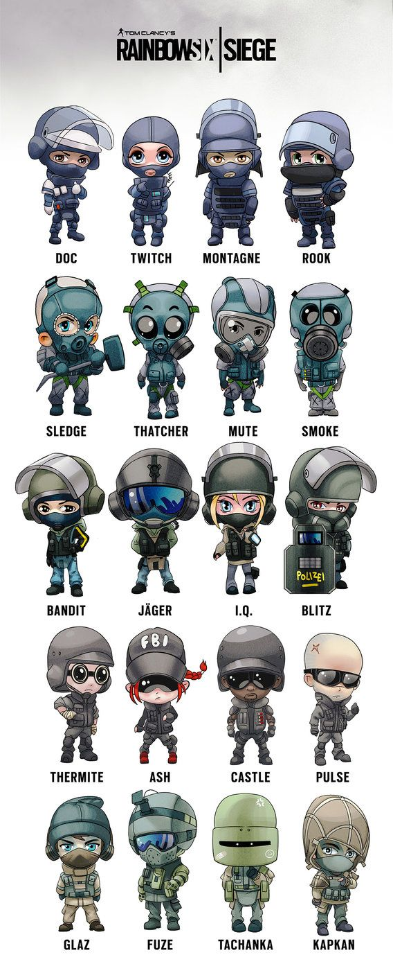 Rainbow Six Siege Operator chibis by I-GUYJIN-I deviantart
