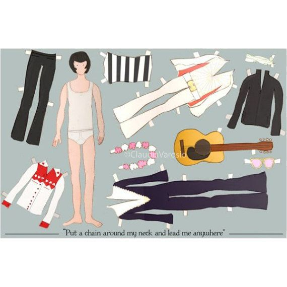 The Elvis paper doll 18x12 inches print on Etsy, $19.82