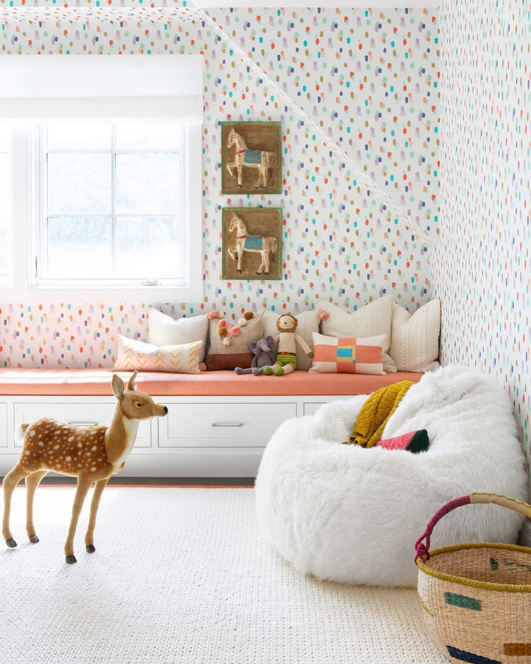 Playful Light And Airy Confetti Like Wallpaper And Cutest Window Bench With Storage Such Bedroom Wallpaper Accent Wall Stylish Playroom Creative Kids Rooms