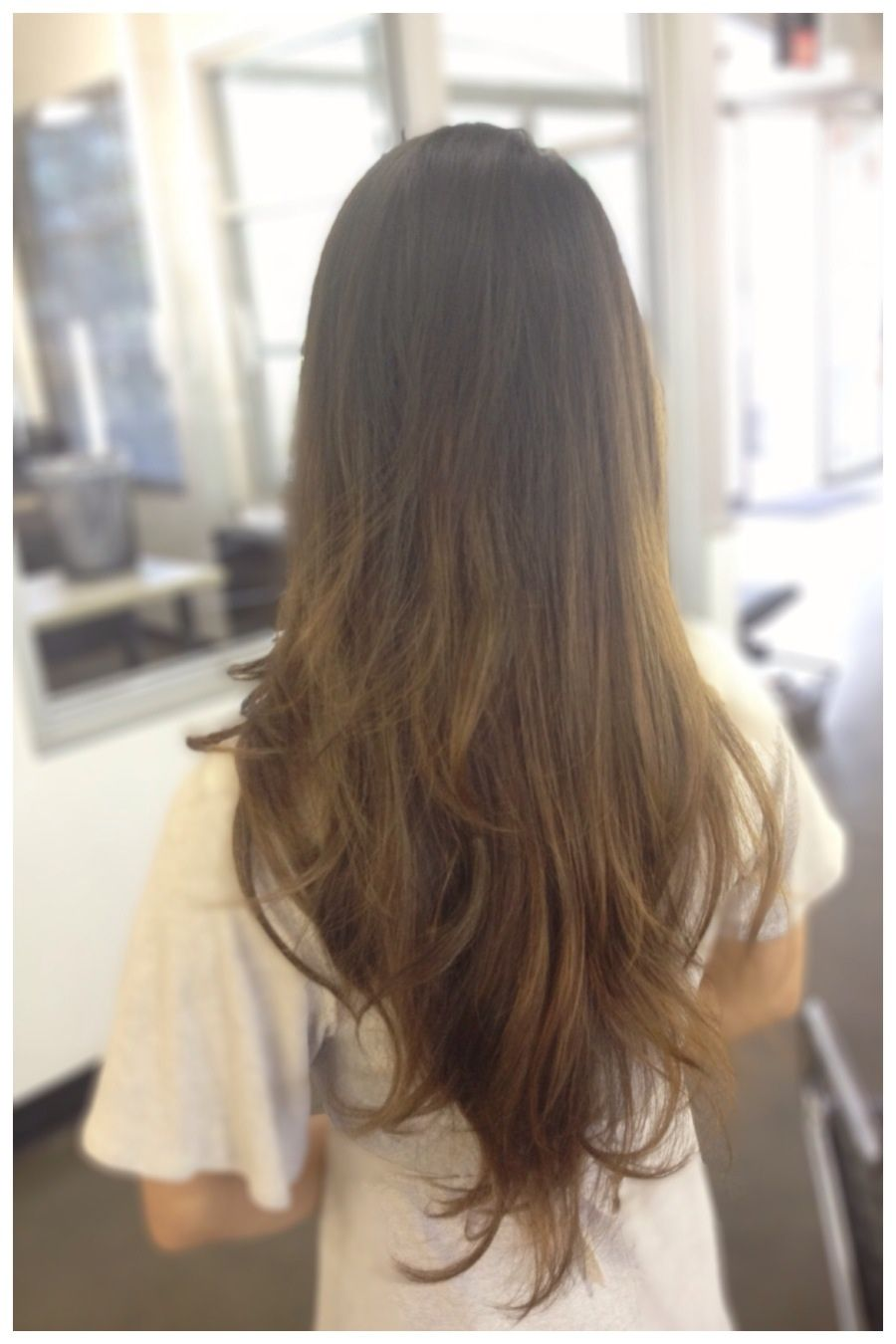 Long Hair Balayage Razored Carsten Cut Brown Hair Ombr Color Melt