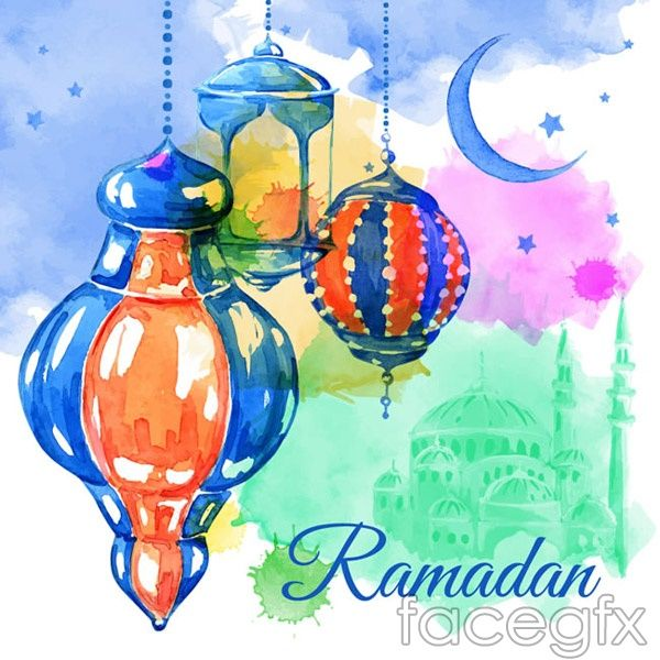Water color painting of ramadan greeting cards vector ramadan water color painting of ramadan greeting cards vector m4hsunfo Image collections