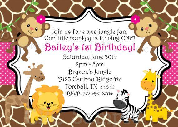 1st birthday girl invitation monkey jungle birthday invitation