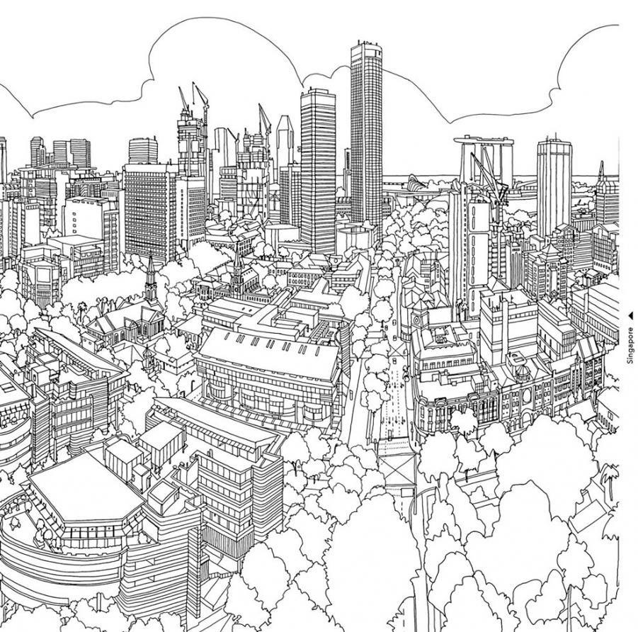 Kolorowanka Dla Fanow Architektury Fantastic Cities Coloring Book Coloring Pages Coloring Books