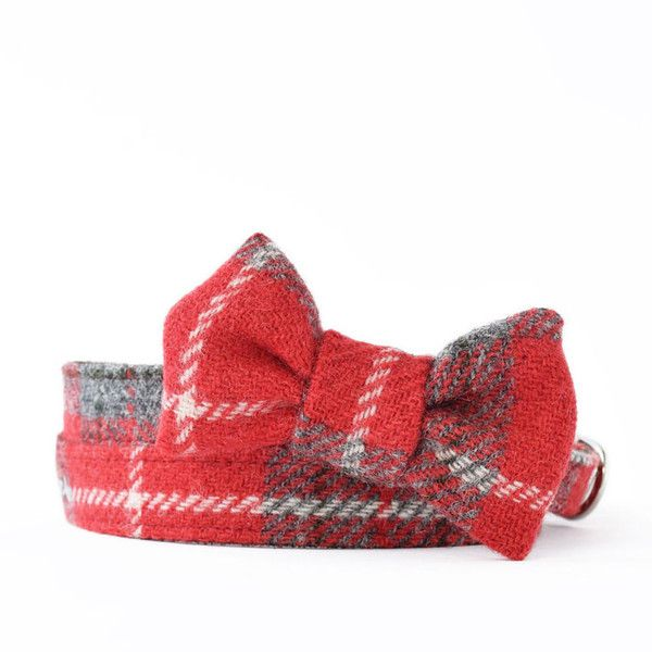 Handmade in London, this tartan plaid bow tie is crafted of genuine Harris Tweed woven in the Outer Hebrides and has an elastic loop in the back.