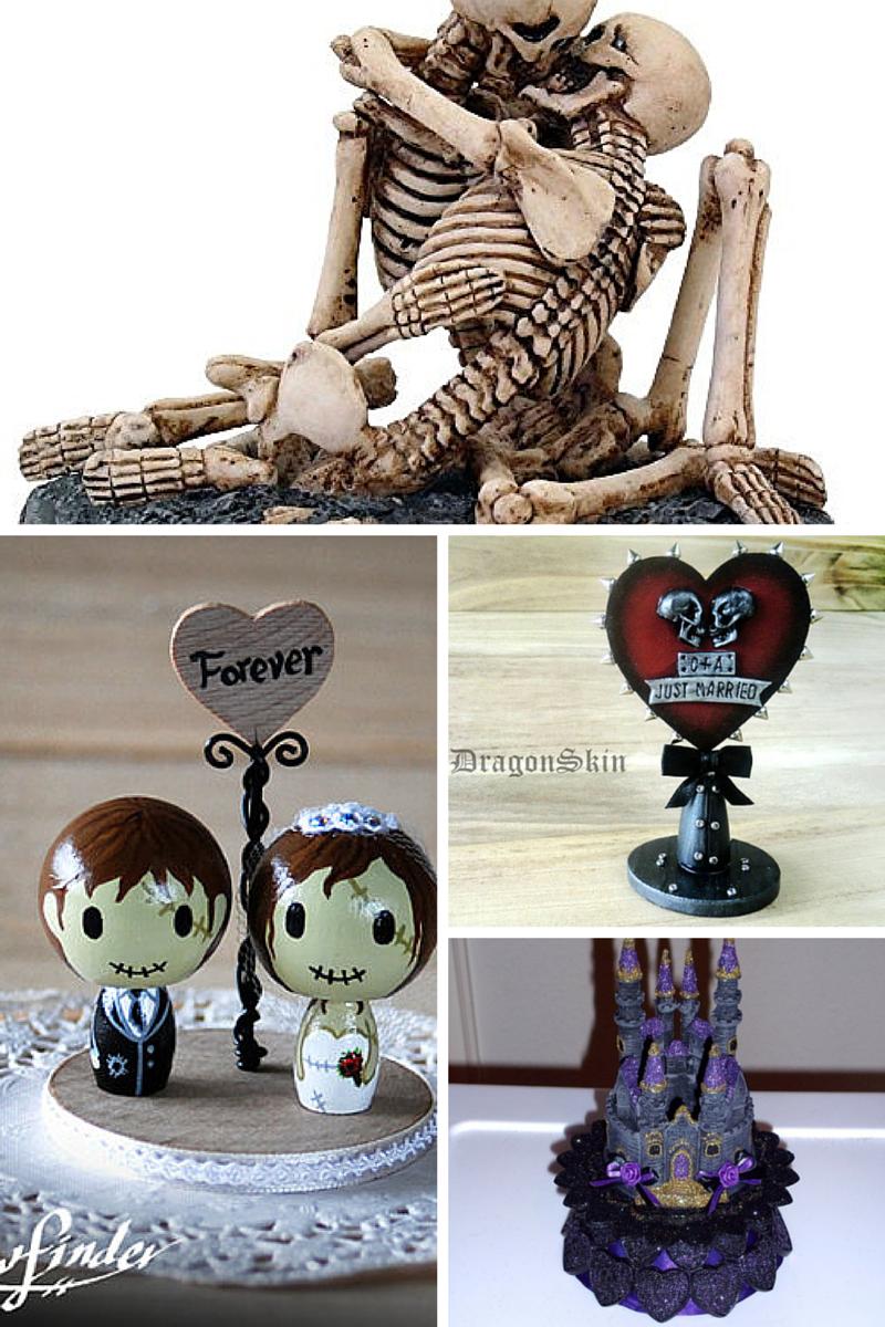 Halloween themed wedding cake toppers. #wedding #halloween http ...
