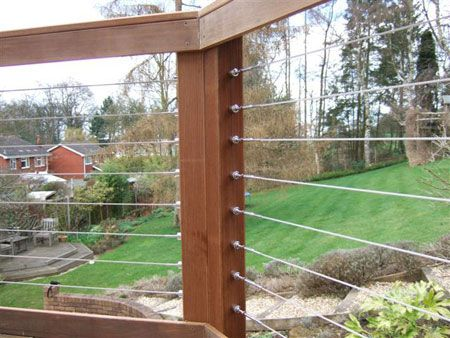 Stainless Steel Deck Cable Railing Garden view. Segue into wired ...