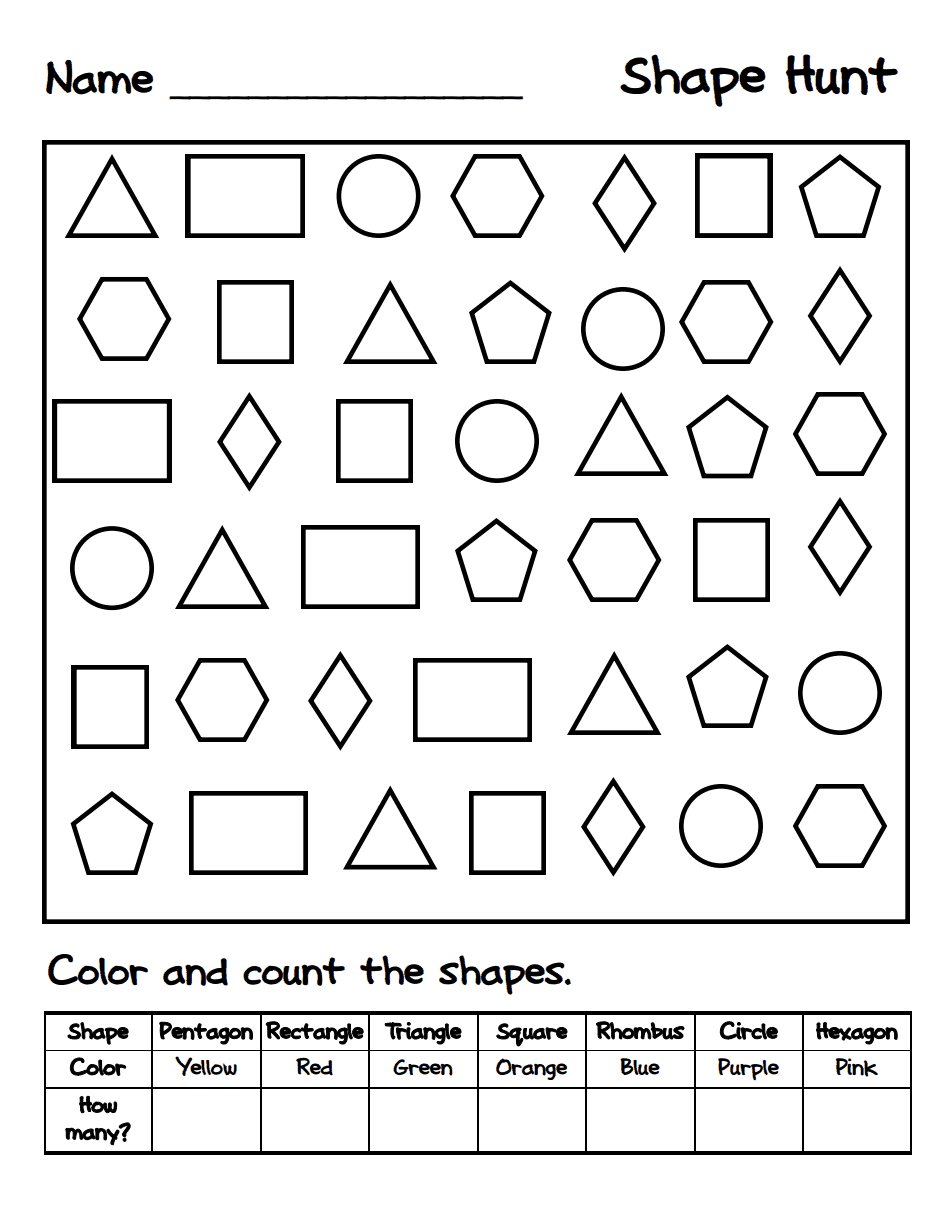 Shape Hunt.pdf Math school, Math classroom, Kindergarten