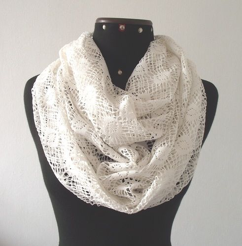 White Infinity Scarf Cotton Lace | Tophatter