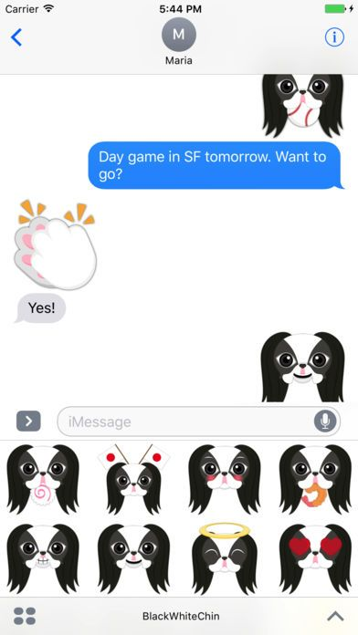 japanesechin Black White Japanese Chin Stickers for iMessage