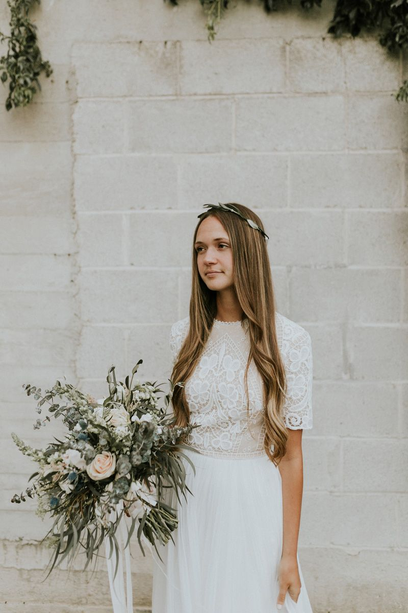 Modest wedding dress with elbow sleeves from alta moda modest
