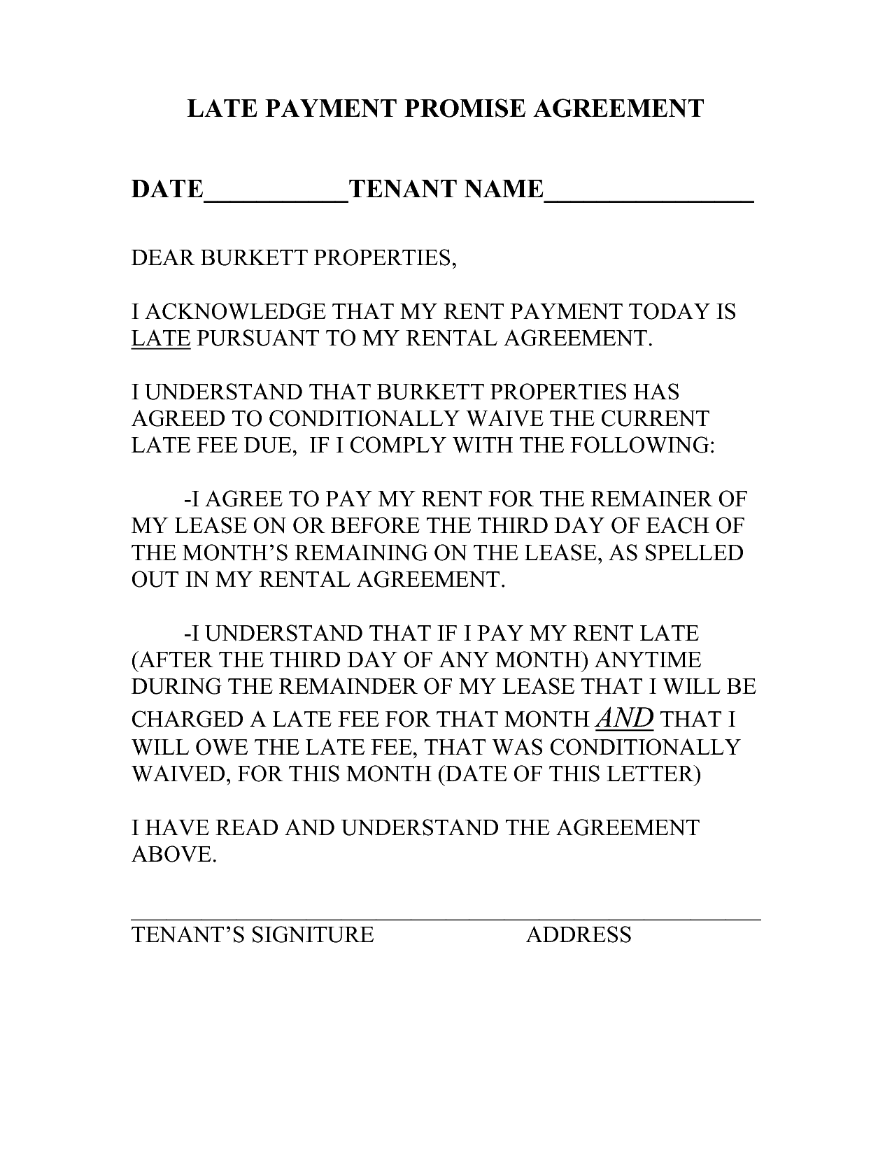 late rent notice letter