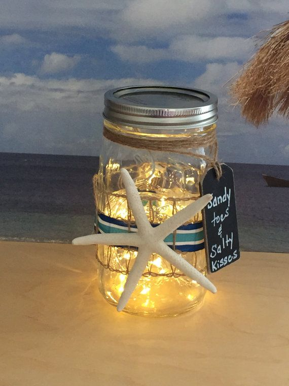 Beach Themed Mason Jar Light With Starfish Says Sandy Toes And Salty Kisses Jar Lights Mason Jars Mason Jar Lighting