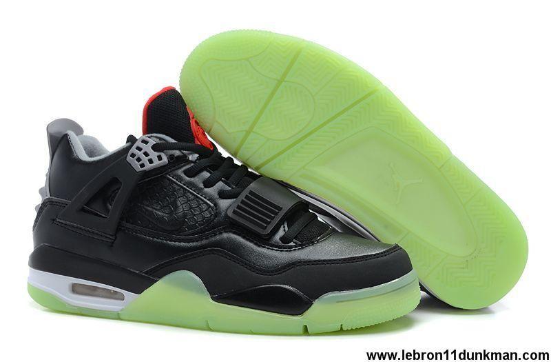 Buy Discount Black/Grey-Red Air Jordan IV x Air Yeezy 2 Basketball Shoes