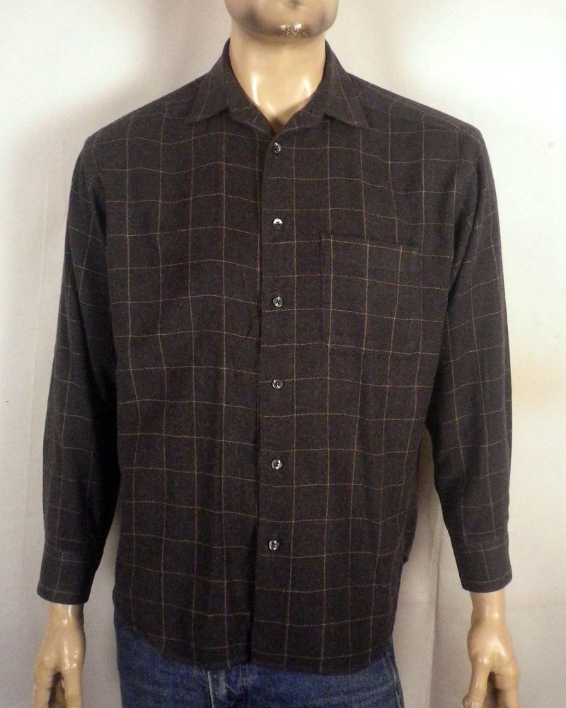 Flannel shirt under suit  euc Banana Republic Wool Rayon Cotton Blend Flannel Shirt windowpane