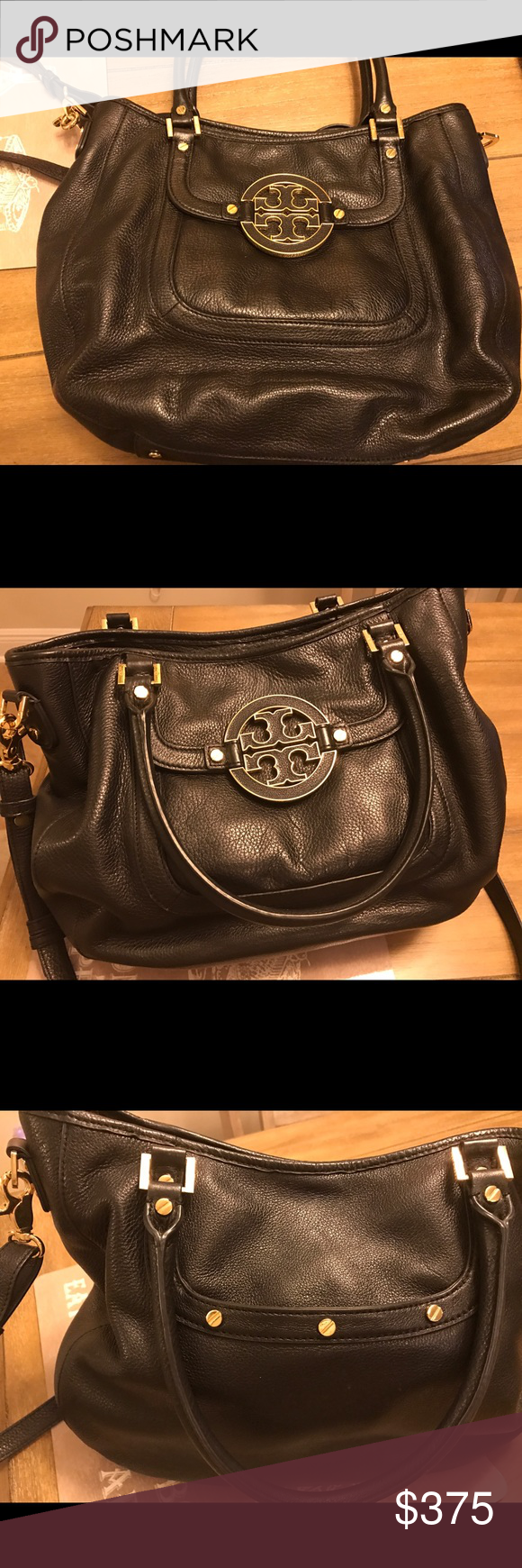 Tory Burch large Amanda Hobo bag Black leather with tan inside. Large Amanda Hobo bag. Great condition with now stains or scratches. Tory Burch Bags Hobos