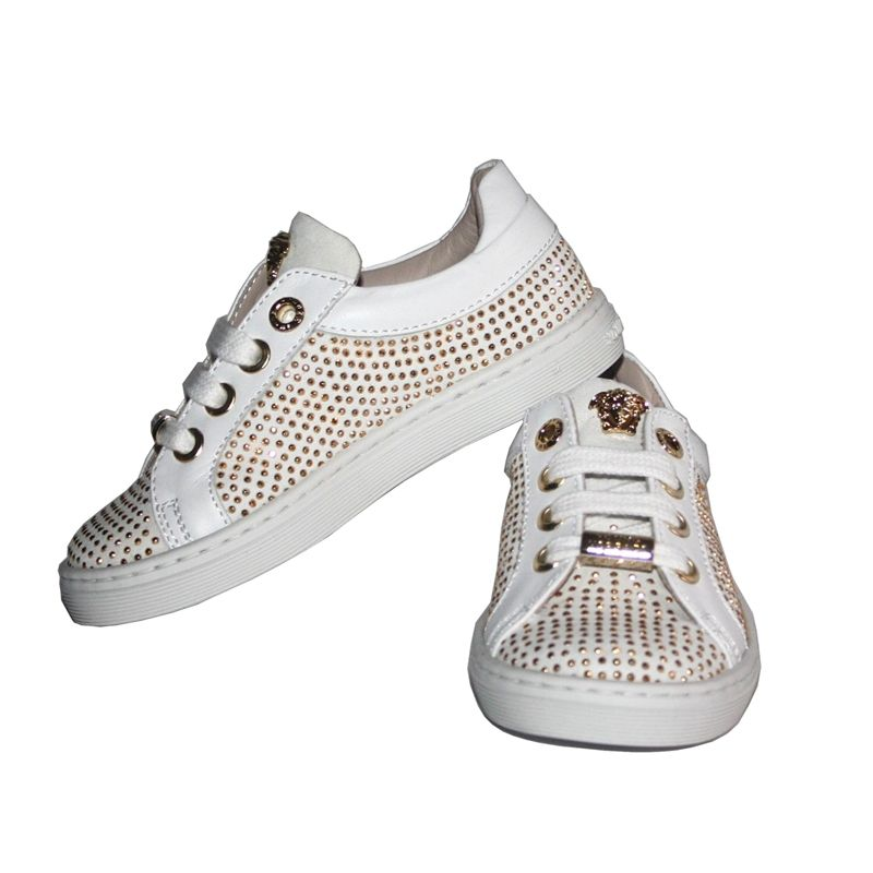 Young VERSACE White And Gold Studded Trainer