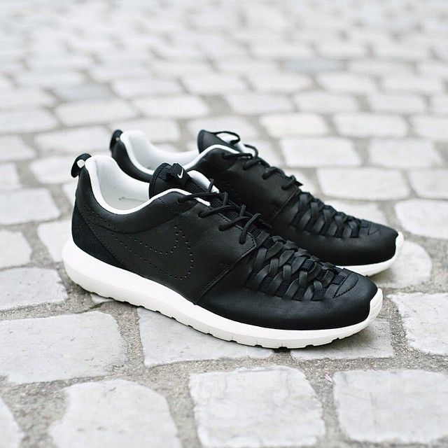 quality design 71252 31b2c ... nike black sneakers white sole leather swoosh unique exclusive premium  limited edition sneakerhead shoelover blogger style nike roshe run ...
